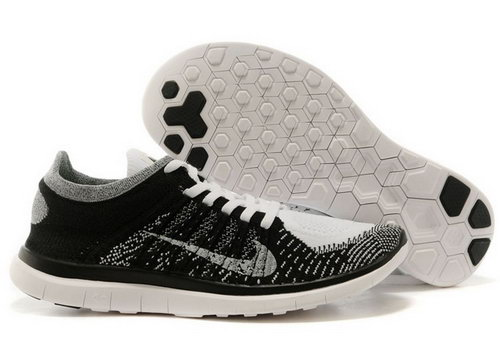 Nike Free Flyknit 4.0 Womens Shoes Black Gray White Uk
