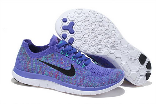 Nike Free Flyknit 4.0 Womens Shoes Blue Black Hot Coupon Code