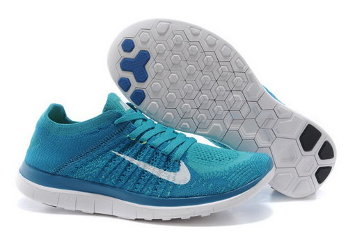 Nike Free Flyknit 4.0 Womens Shoes Blue White Wholesale