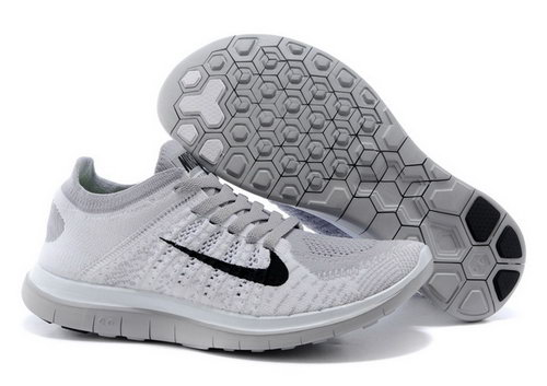 Nike Free Flyknit 4.0 Womens Shoes Light Gray Black Hot Sale