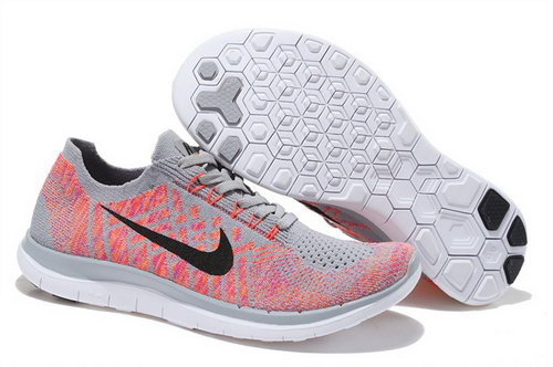 Nike Free Flyknit 4.0 Womens Shoes Light Peach Red Gray Black Hot Online Store