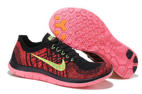 Nike Free Flyknit 4.0 Womens Shoes Red Black Green Hot Usa