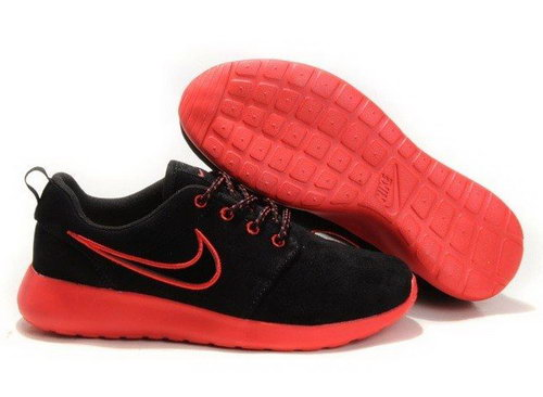 New Arrival Mens Nike Roshe Running Shoes Wool Skin Comfort Casual Back Red On Sale