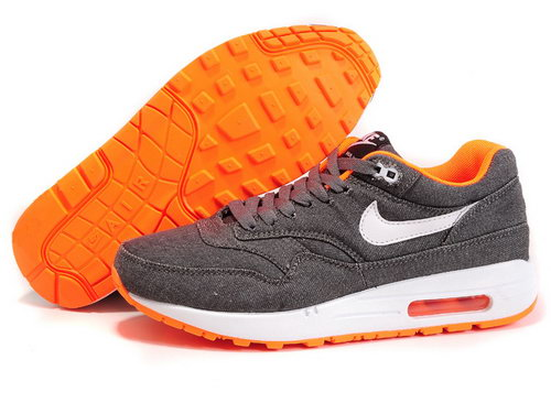 Nike Air Max 1 Mens Grey Denim Twill Orange Clearance