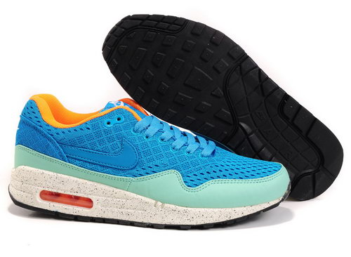Nike Air Max 1 Unisex Blue Green Running Shoes Coupon Code