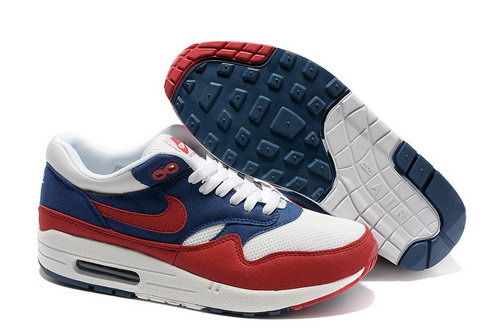 Nike Air Max 1 Unisex Blue Red Running Shoes Wholesale