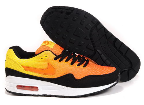 Nike Air Max 1 Unisex Orange Black Running Shoes