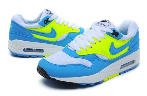 Nike Air Max 1 Womens Blue Yellow White Low Cost