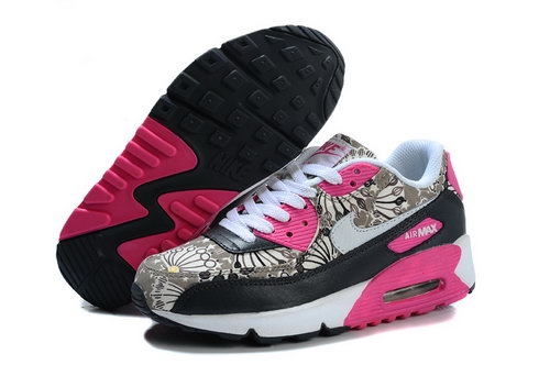 Nike Air Max 90 Flowers Women Pink Black Running Shoes Low Cost