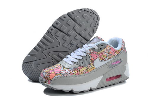 Nike Air Max 90 Flowers Women Pink Gray Running Shoes Cheap