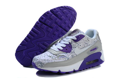 Nike Air Max 90 Flowers Women White Purple Running Shoes Discount Code