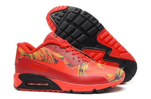 Nike Air Max 90 Hyp Prm Mens Shoes 2015 Magic World Chinese Red Gold New Taiwan