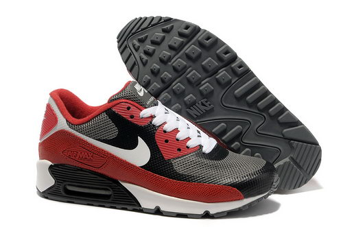 Nike Air Max 90 Hyperfuse Men Black Red Running Shoes Closeout
