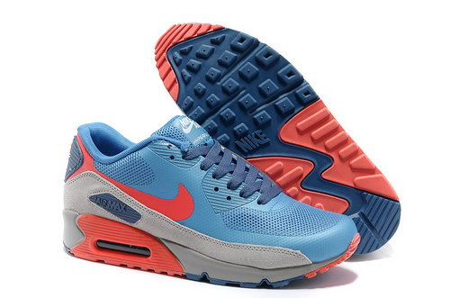 Nike Air Max 90 Hyperfuse Men Gray Blue Running Shoes Low Cost