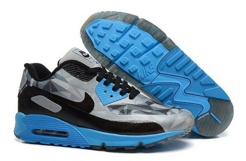 Nike Air Max 90 Hyperfuse Prm 2014 25 Anniversary Mens Shoes Gray Blue New Discount