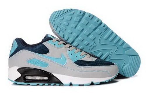 Nike Air Max 90 Mens Shoes Navy Grey Bright Blue Online Store