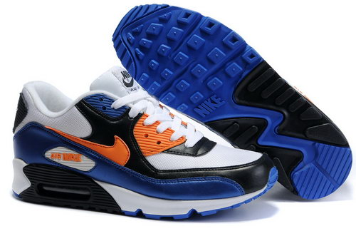 Nike Air Max 90 Mens White Orange Blue On Sale