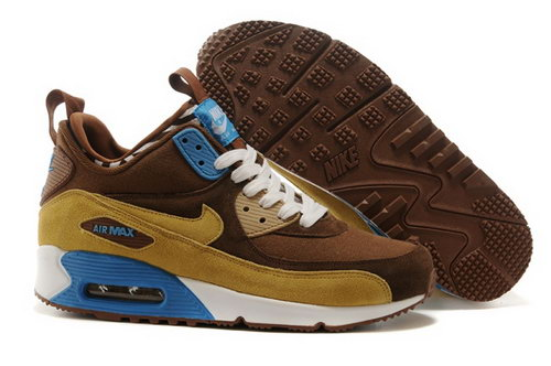 Nike Air Max 90 Sneakerboots Prm Undeafted Mens Shoes Brown Yellow Blue White Special Germany