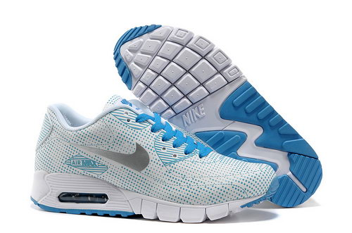 Nike Air Max 90 Unisex Blue Gray Running Shoes Inexpensive