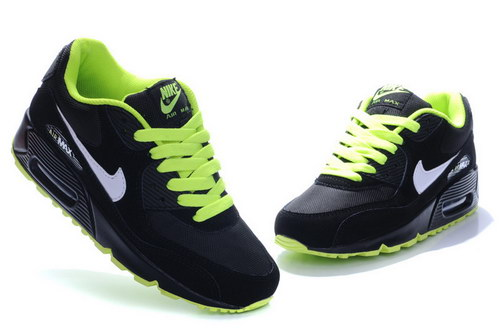 Nike Air Max 90 Womens Black Dark Grey Flash Lime Uk