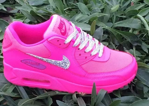 Nike Air Max 90 Womens Shoes Pink Silver White Hot New Discount Code