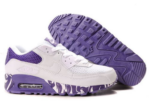 Nike Air Max 90 Womens White Purple Greece