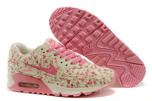 Nike Air Max 90 Womenss Running Shoes Flower Baby Pink Gray Outlet