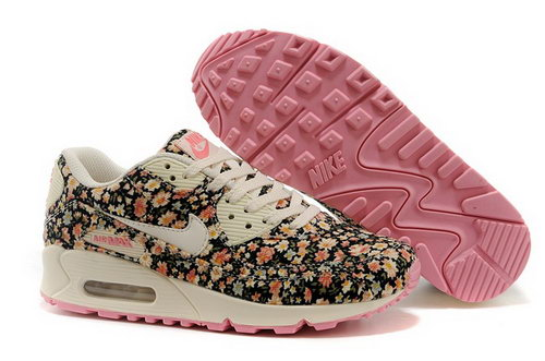 Nike Air Max 90 Womenss Running Shoes Flower Baby Pink White Discount