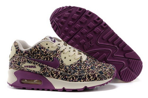 Nike Air Max 90 Womenss Running Shoes Flower Purple Brown