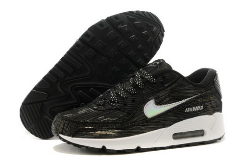 Nike Air Max 90 Womenss Shoes Black White Hot On Sale Japan