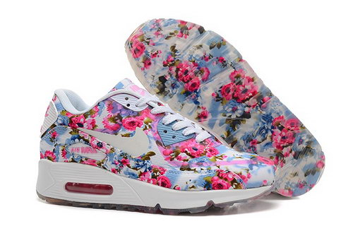 Nike Air Max 90 Womenss Shoes Flower Pink Blue White Special France
