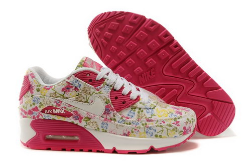 Nike Air Max 90 Womenss Shoes Flower Red Light White New Norway