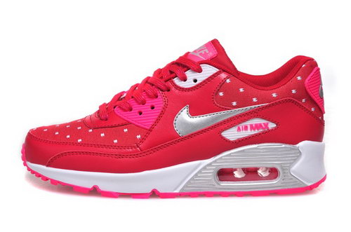 Nike Air Max 90 Womenss Shoes Hot New Peach Red Silver White Greece