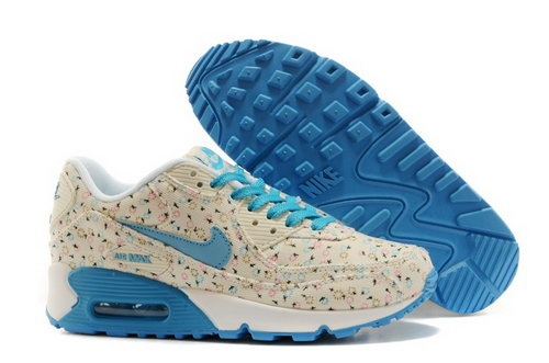Nike Air Max 90 Womenss Shoes Online Light Gray Flower Blue Sky Factory Outlet