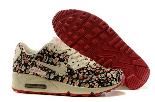 Nike Air Max 90 Womenss Shoes Online Light Gray Flower Brown Inexpensive