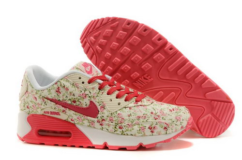 Nike Air Max 90 Womenss Shoes Online Light Gray Flower Pink New Zealand