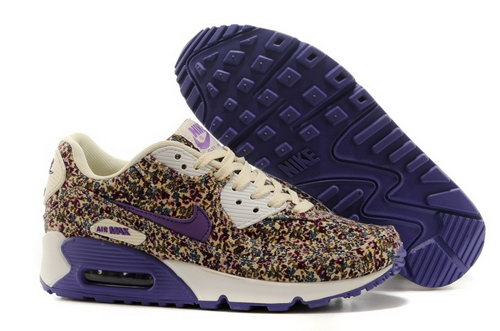 Nike Air Max 90 Womenss Shoes Online Light Gray Flower Purple Low Price