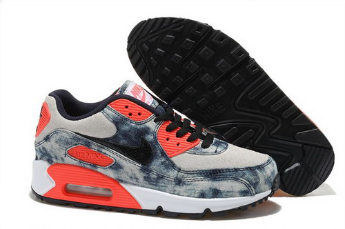 Nike Air Max 90 Womenss Shoes Street Jeans Blue Orange Special Cheap