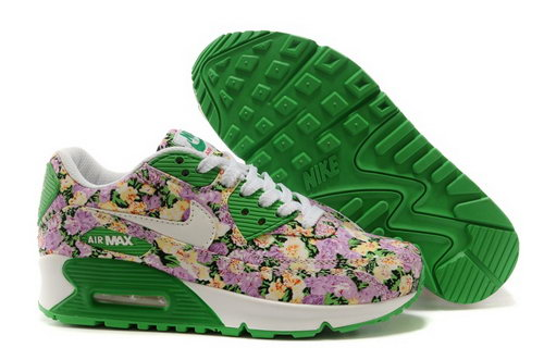Nike Air Max 90 Womenss Shoes White Brown Green Flower New Coupon