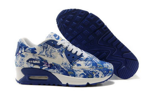 Nike Air Max 90 Womenss Shoes White Deep Blue Flower New Sweden
