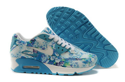 Nike Air Max 90 Womenss Shoes White Sky Blue Flower New Uk
