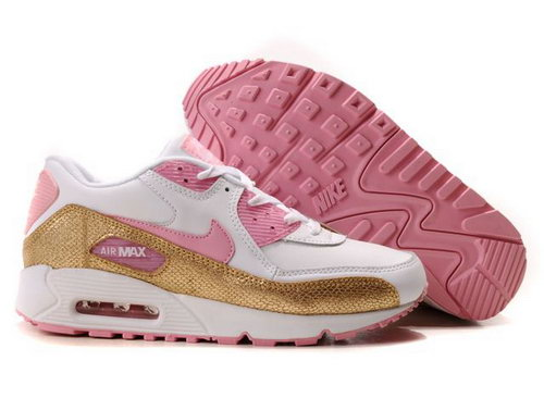 Nike Air Max 90 Womenss Shoes Wholesale Pink White Gold Inexpensive