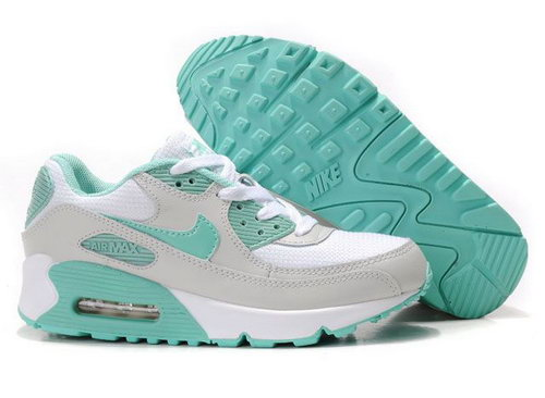 Nike Air Max 90 Womenss Shoes Wholesale White Gray Green Outlet Store
