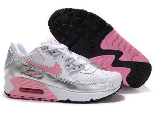 Nike Air Max 90 Womenss Shoes Wholesale White Pink Sliver Clearance