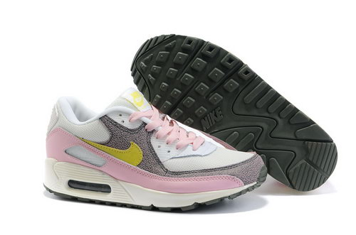 Nike Air Max 90 Womenss Shoes Wholesale White Pink Yellow Brown Korea