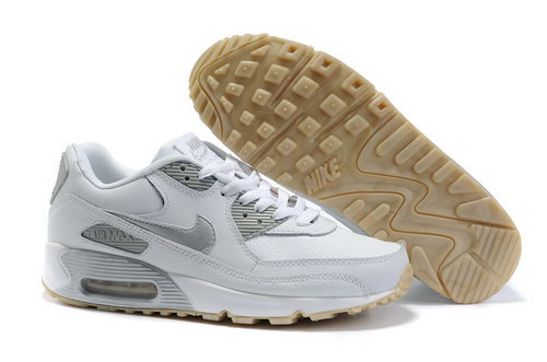 Nike Air Max 90 Womenss Shoes Wholesale White Sliver Closeout