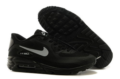 Nike Air Max Lunar 90 Mens Shoes All Black Silver Hot Discount