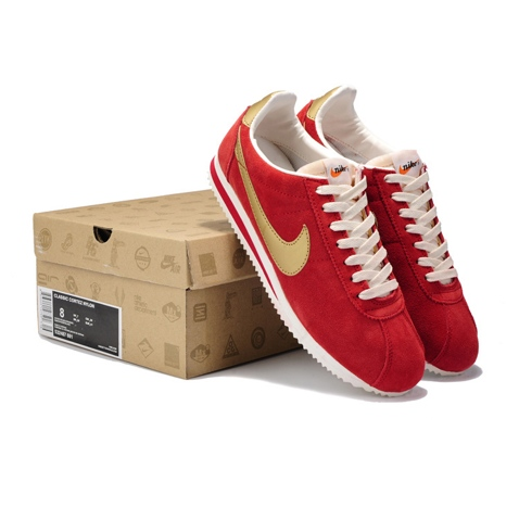 Nike Classic Cortez Nylon Mens Shoes Fur Red Gold On Sale