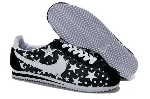 Nike Classic Cortez Nylon Mens Shoes Glowing Star Black White Reduced