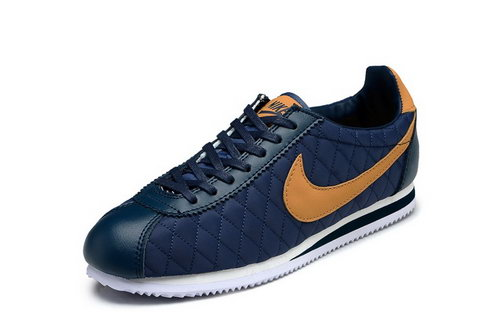 Nike Classic Cortez Nylon Mens Shoes Net Dark Blue Yellow Factory